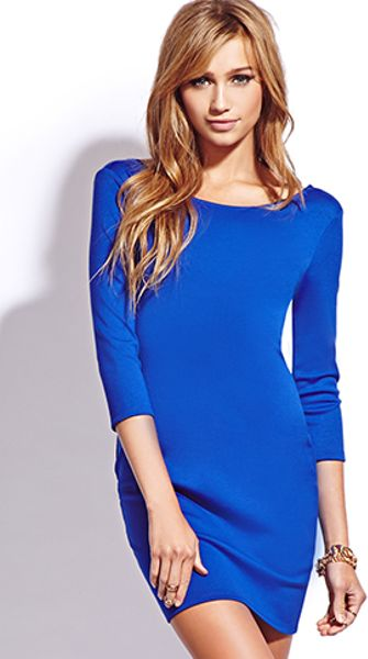 Forever 21 Basic Bodycon Dress In Blue Royal Lyst