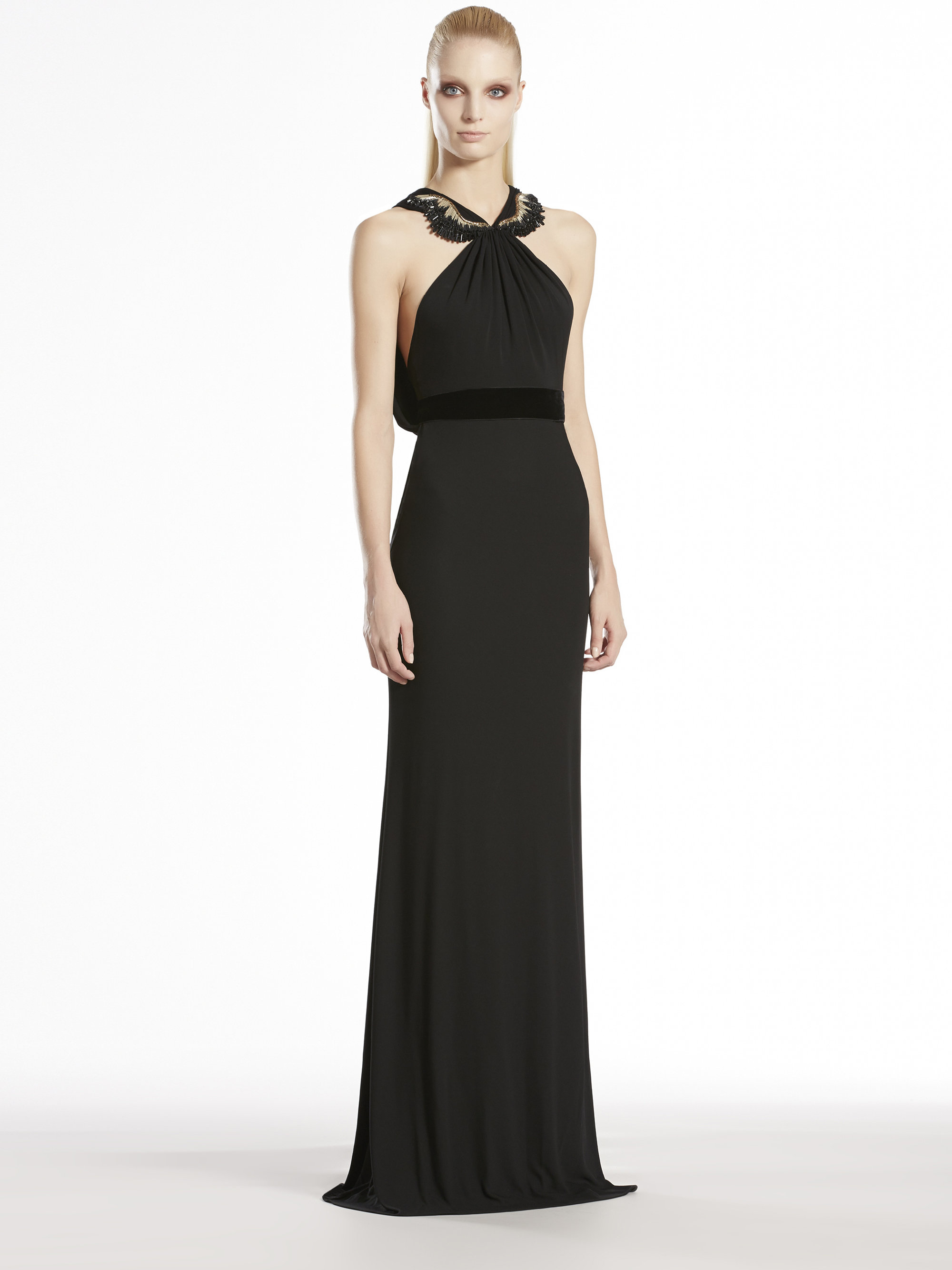 Gucci Viscose Jersey Embroidered Halter Gown In Black Lyst