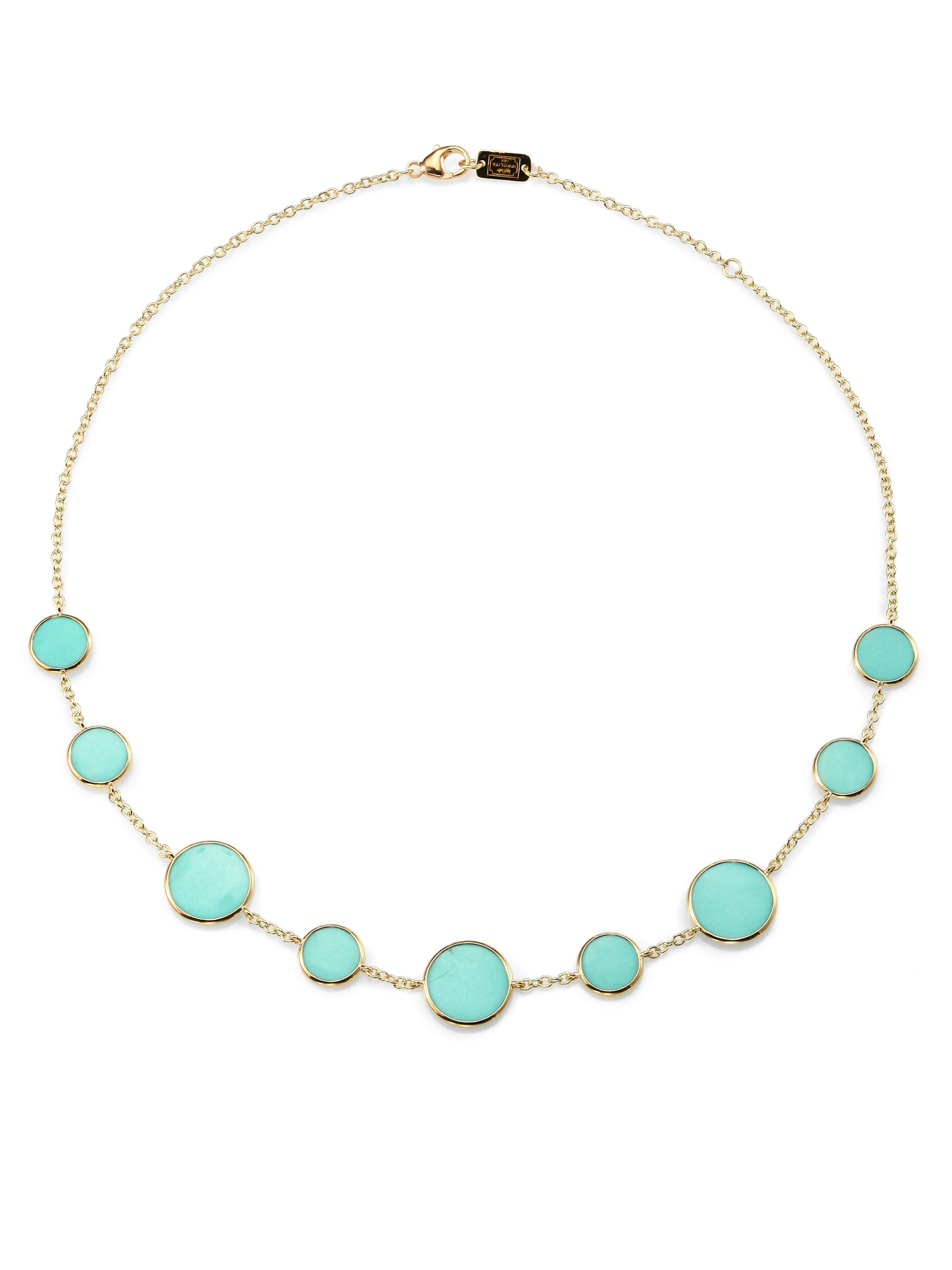 ippolita turquoise and 18k yellow gold disc necklace in. Black Bedroom Furniture Sets. Home Design Ideas
