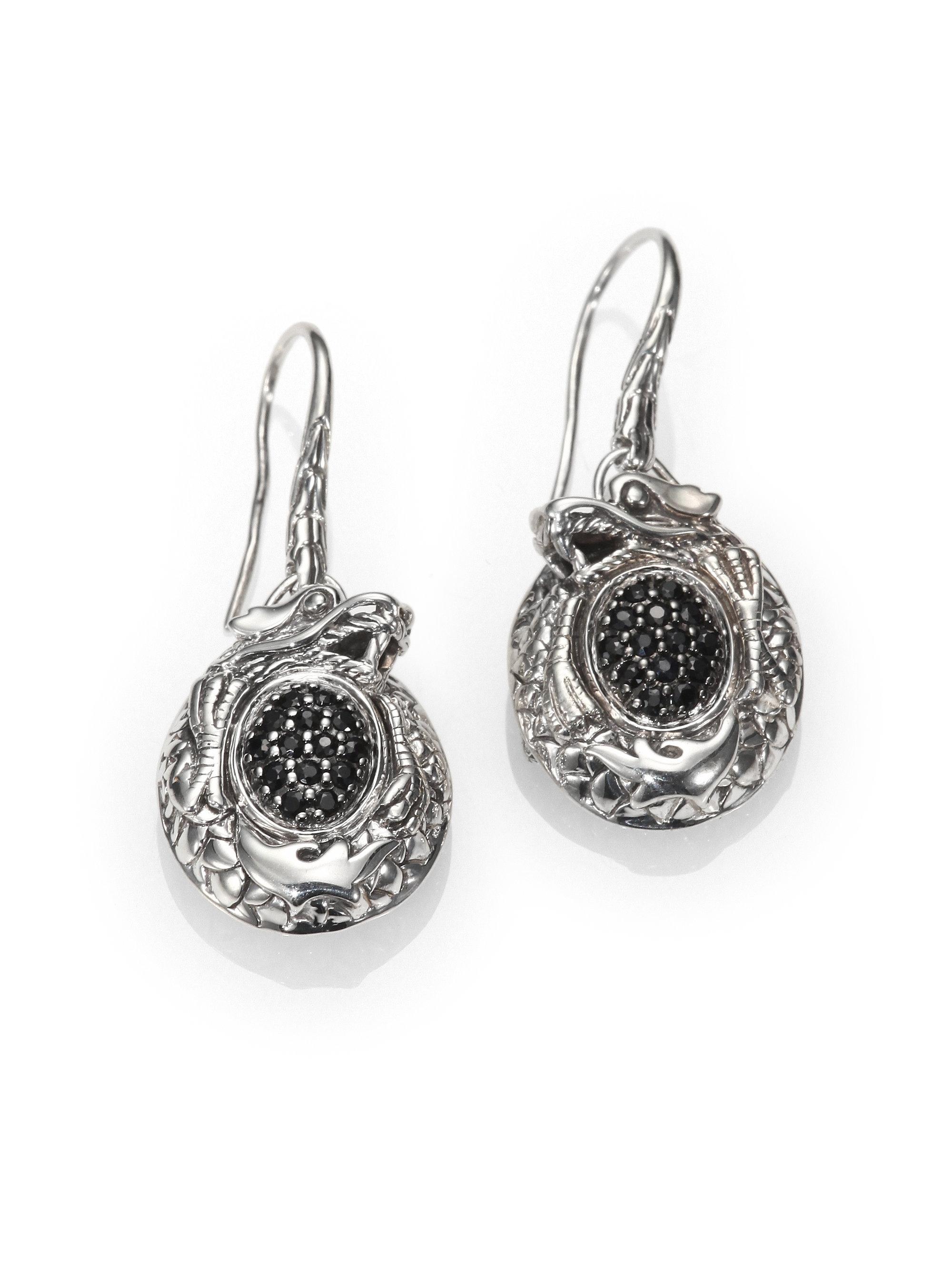 Lyst john hardy naga black sapphire sterling silver for John hardy jewelry earrings