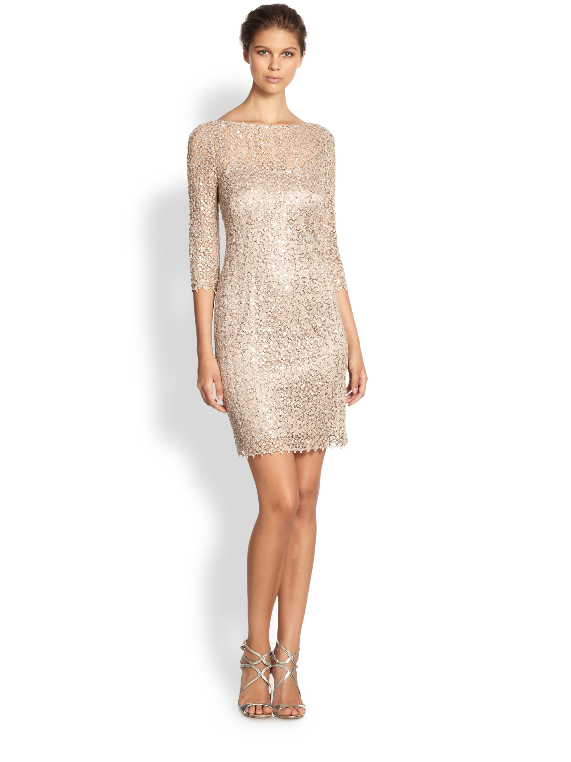 Lyst - Kay Unger Sequined Lace Dress in Metallic