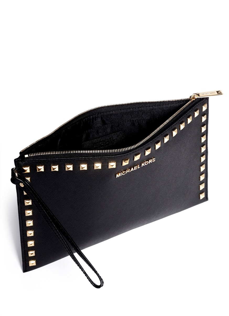 michael kors selma studded leather clutch in black lyst. Black Bedroom Furniture Sets. Home Design Ideas
