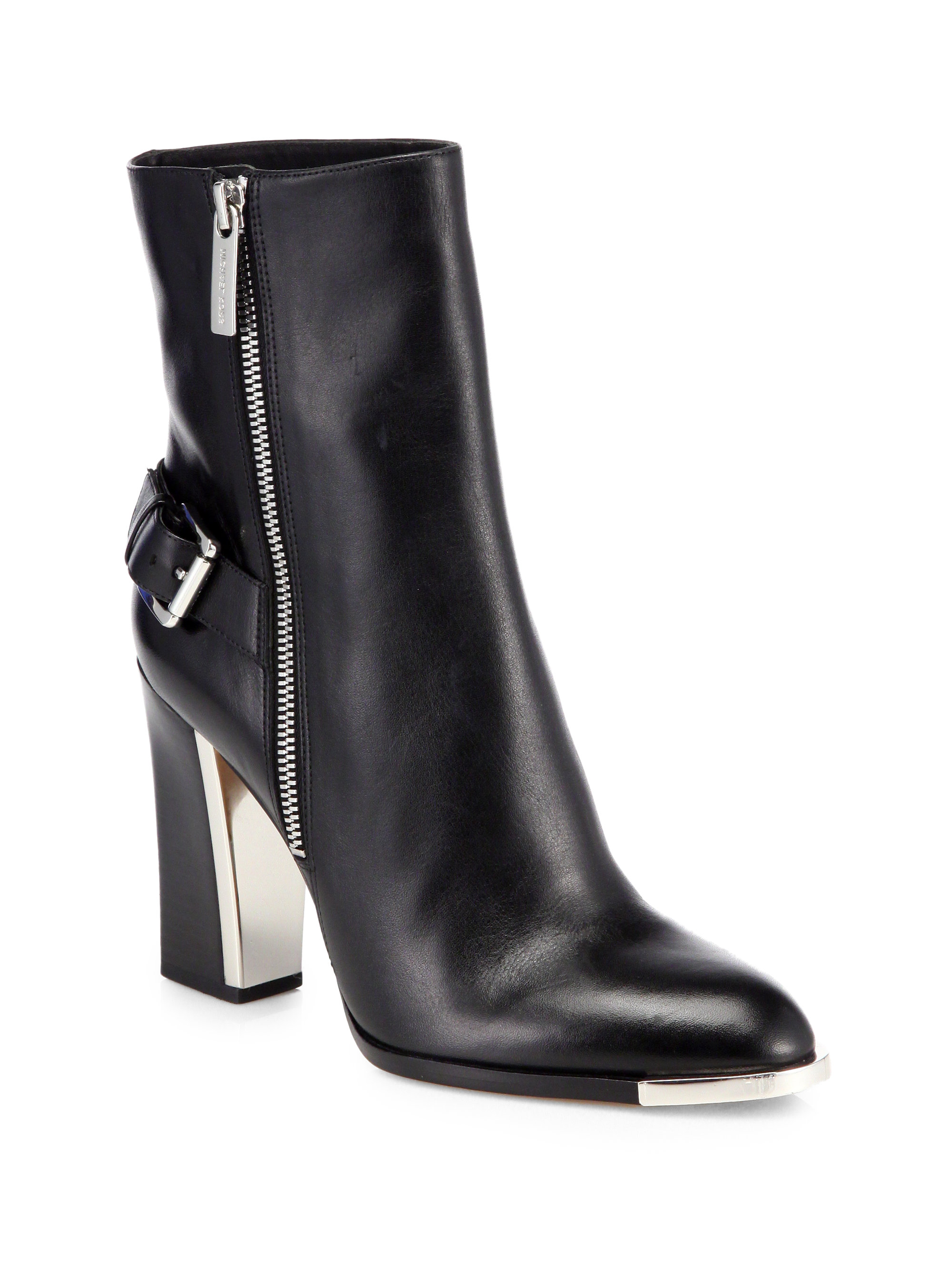 michael kors janell leather ankle boots in black lyst. Black Bedroom Furniture Sets. Home Design Ideas