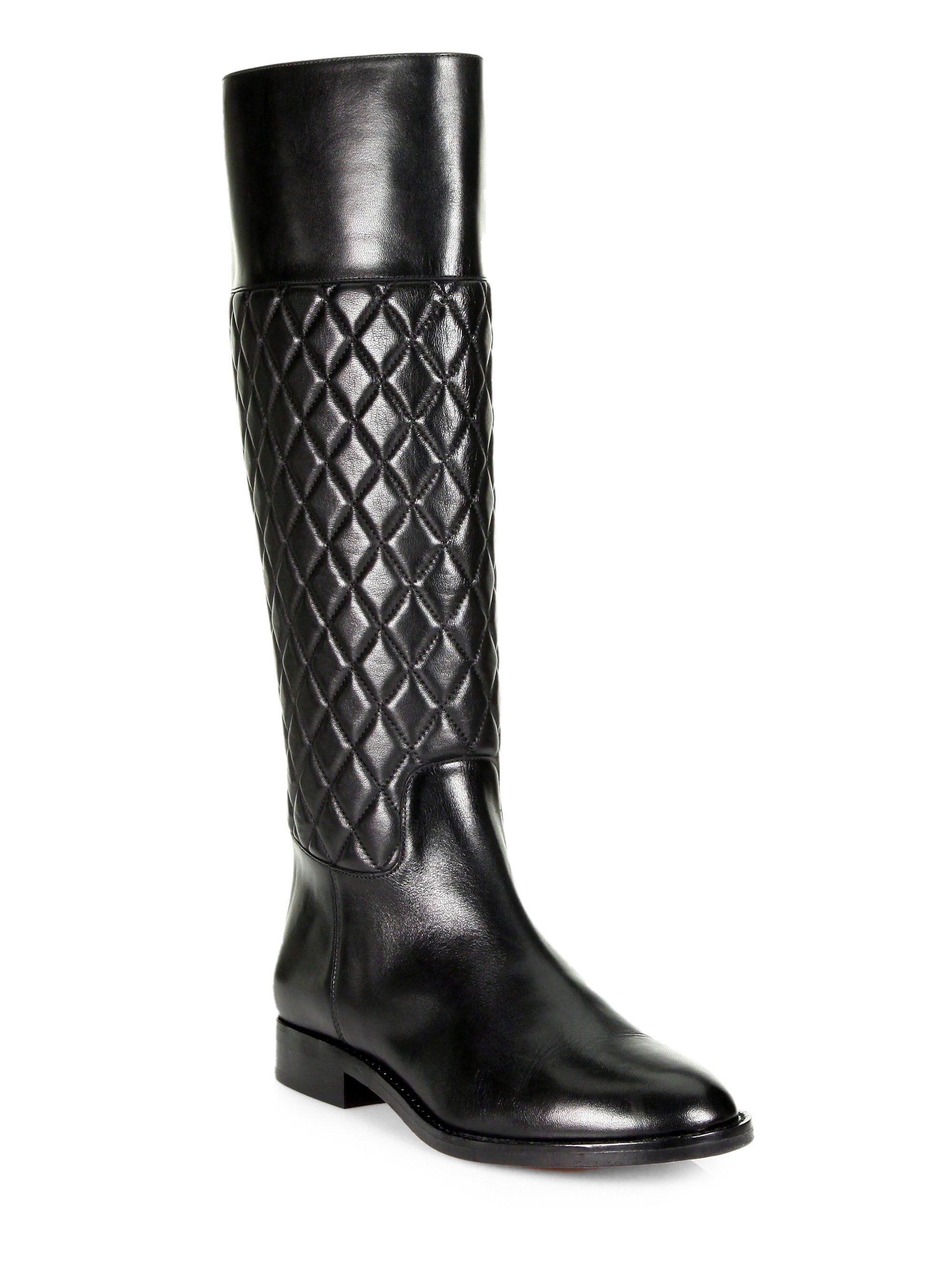 Michael kors Mina Quilted Leather Riding Boots in Black | Lyst