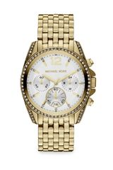 Michael Kors Crystal Accented Gold Tone Stainless Steel Bracelet Watch - Lyst