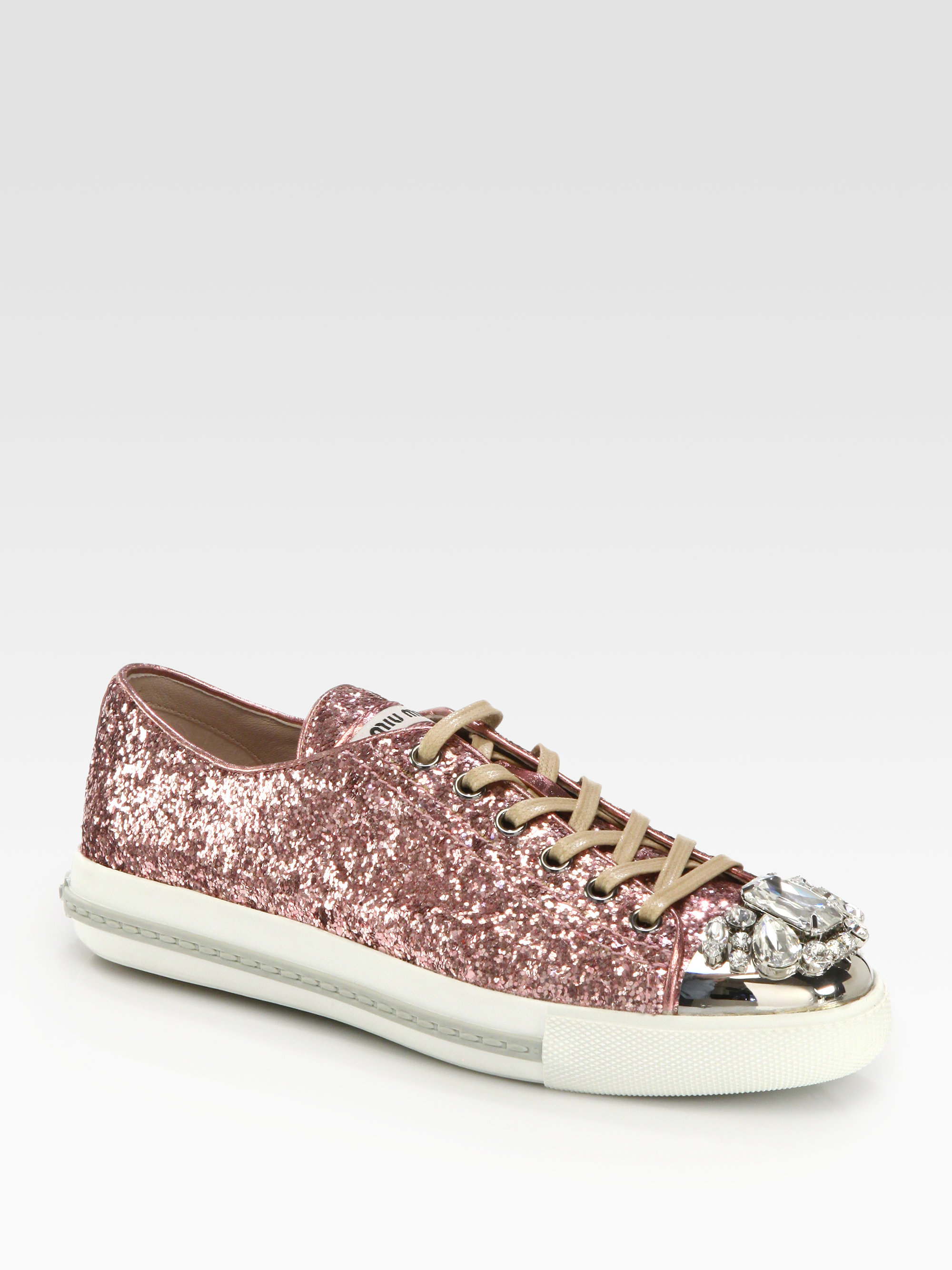 glittery stripes lace-up sneakers - White Miu Miu