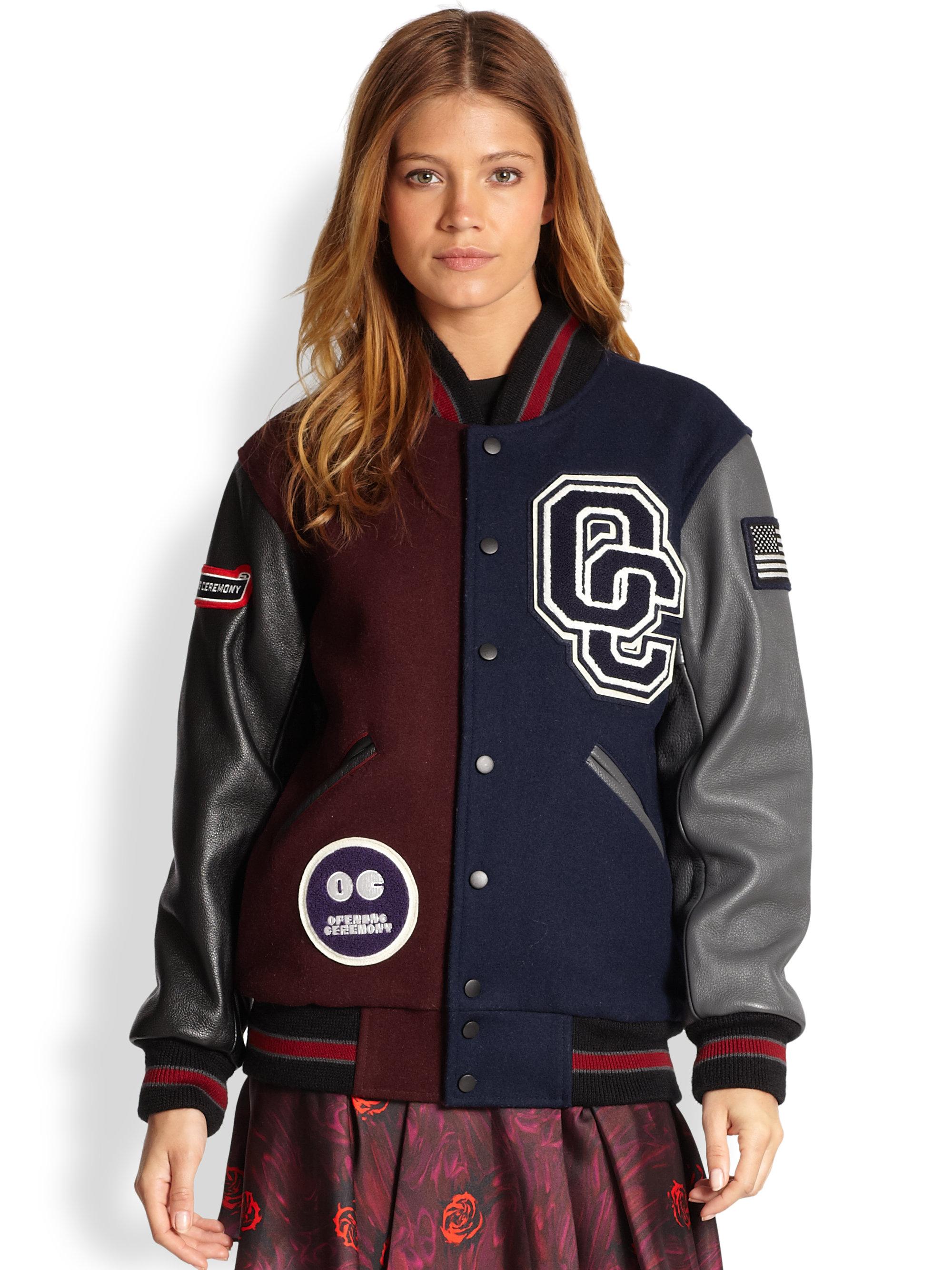 Leather varsity jacket women