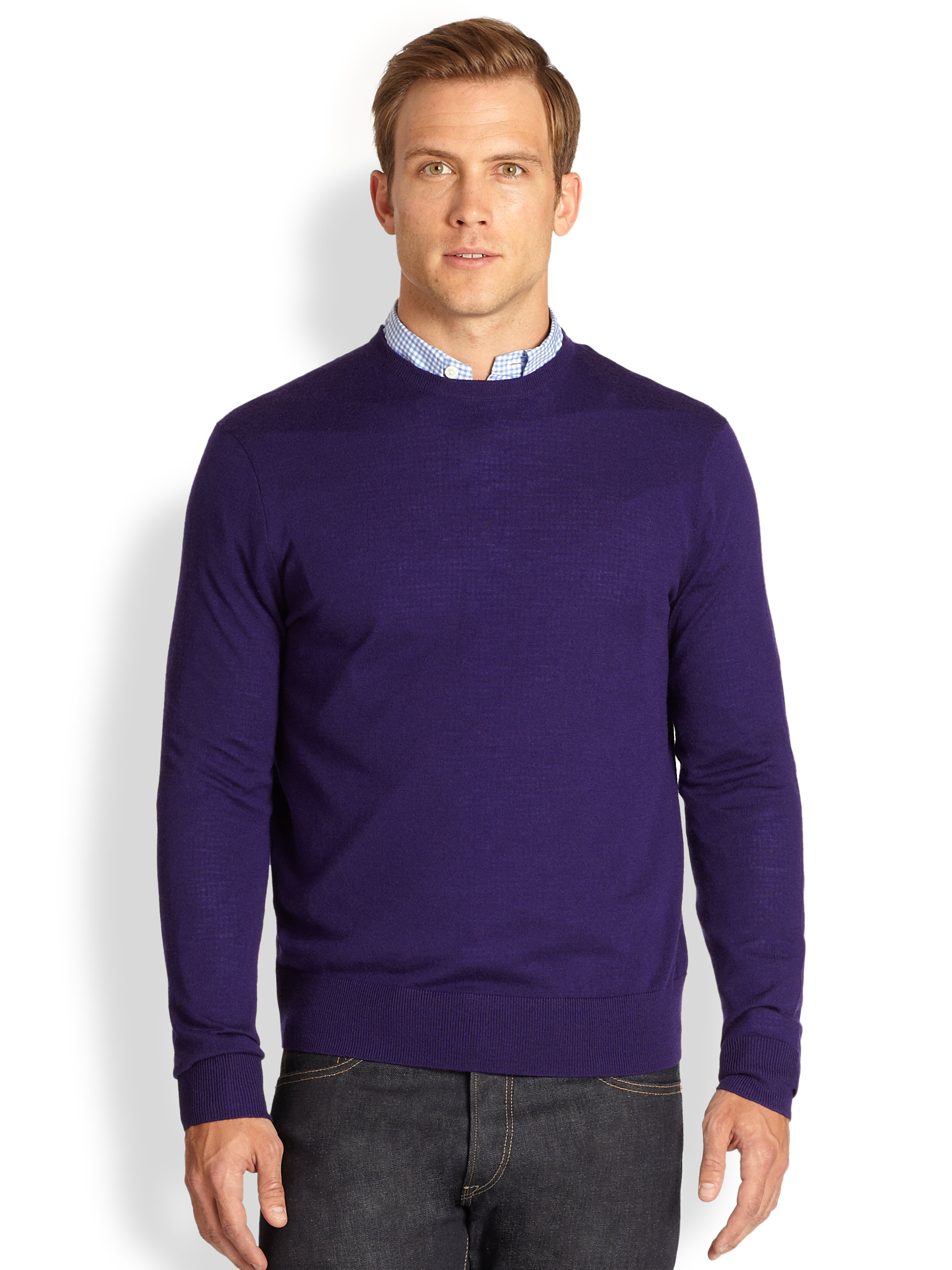 Polo ralph lauren Merino Wool Crewneck Sweater in Purple for Men ...