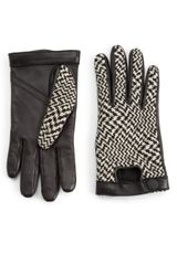 Rag & Bone Beacon Leather Houndstooth Knit Gloves in Black (BLACK-WHITE) - Lyst