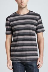 Rag & Bone Triple-stripe Heather-knit Tee Gray - Lyst