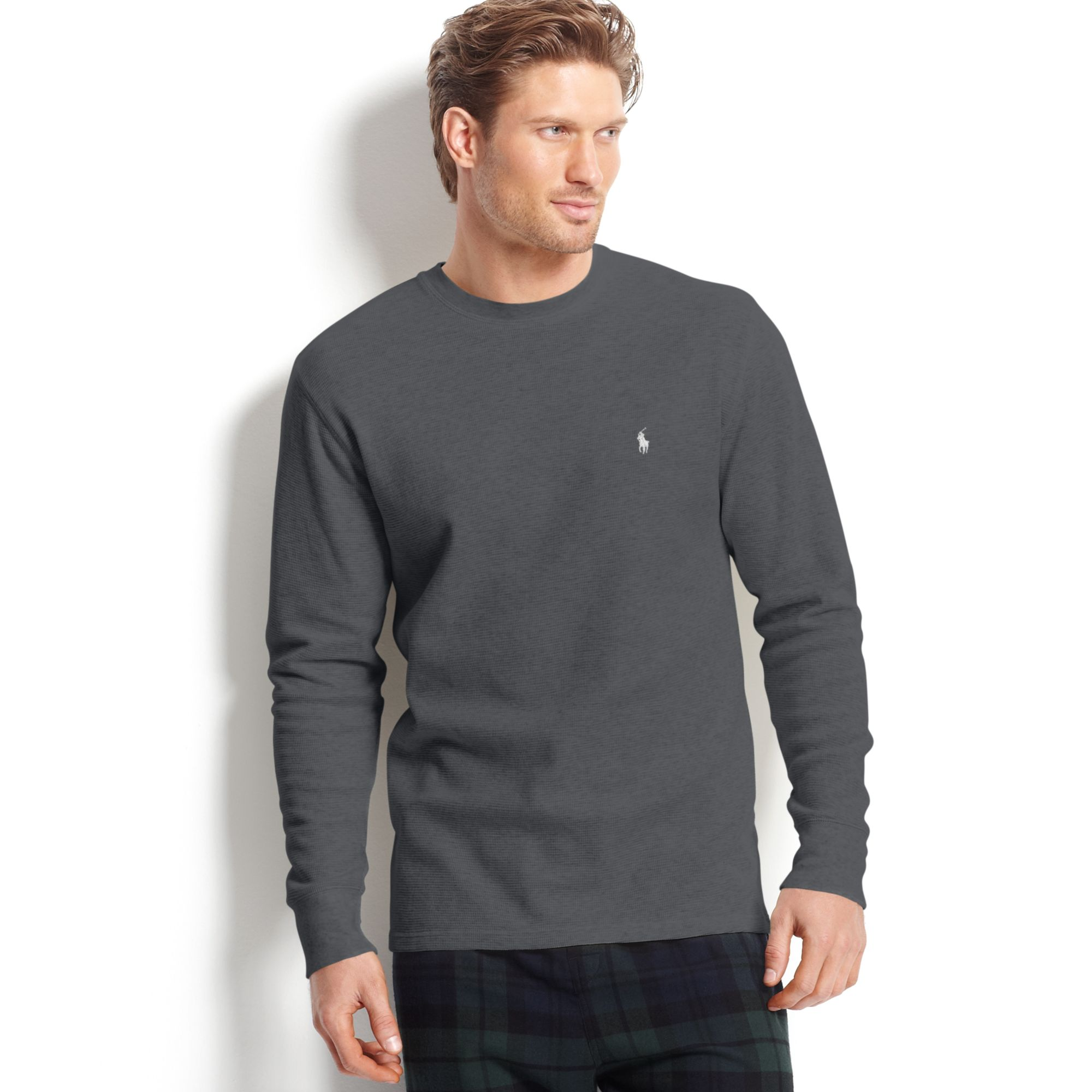 lyst ralph lauren long sleeve crew neck waffleknit thermal tshirt in gray for men. Black Bedroom Furniture Sets. Home Design Ideas