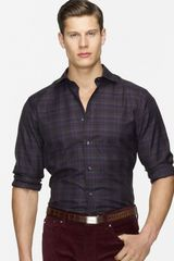 Ralph Lauren Black Label Plaid Cotton Sport Shirt Slim Fit - Lyst