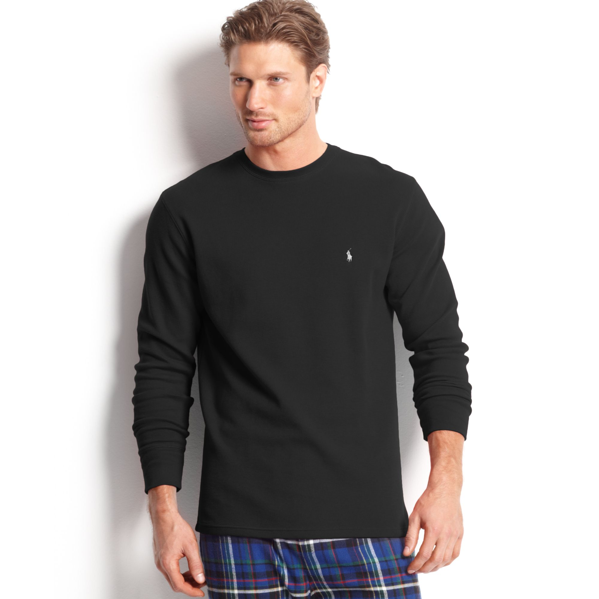 ralph lauren long sleeve crew neck waffleknit thermal tshirt in black. Black Bedroom Furniture Sets. Home Design Ideas