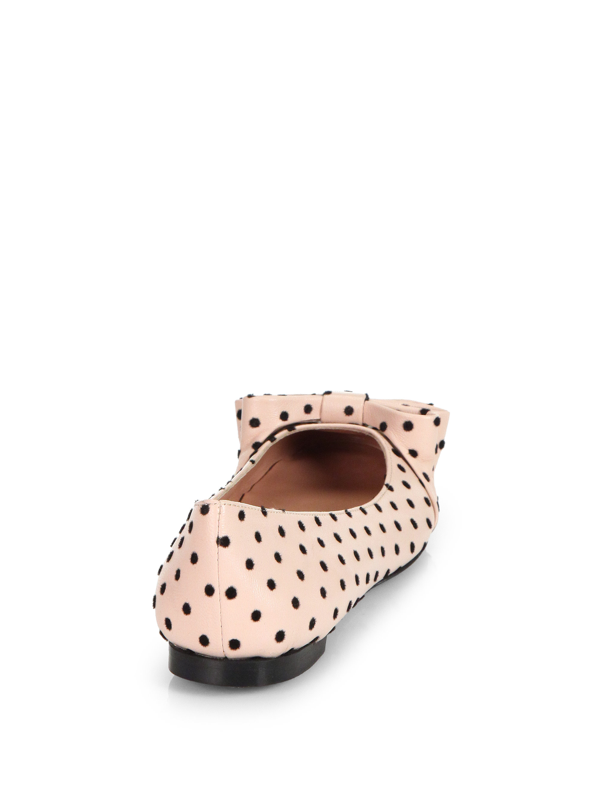 Lyst Red Valentino Polka Dot Leather Ballet Flats In Pink