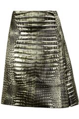 Reed Krakoff Alligatorprint Pleated Satin Skirt - Lyst