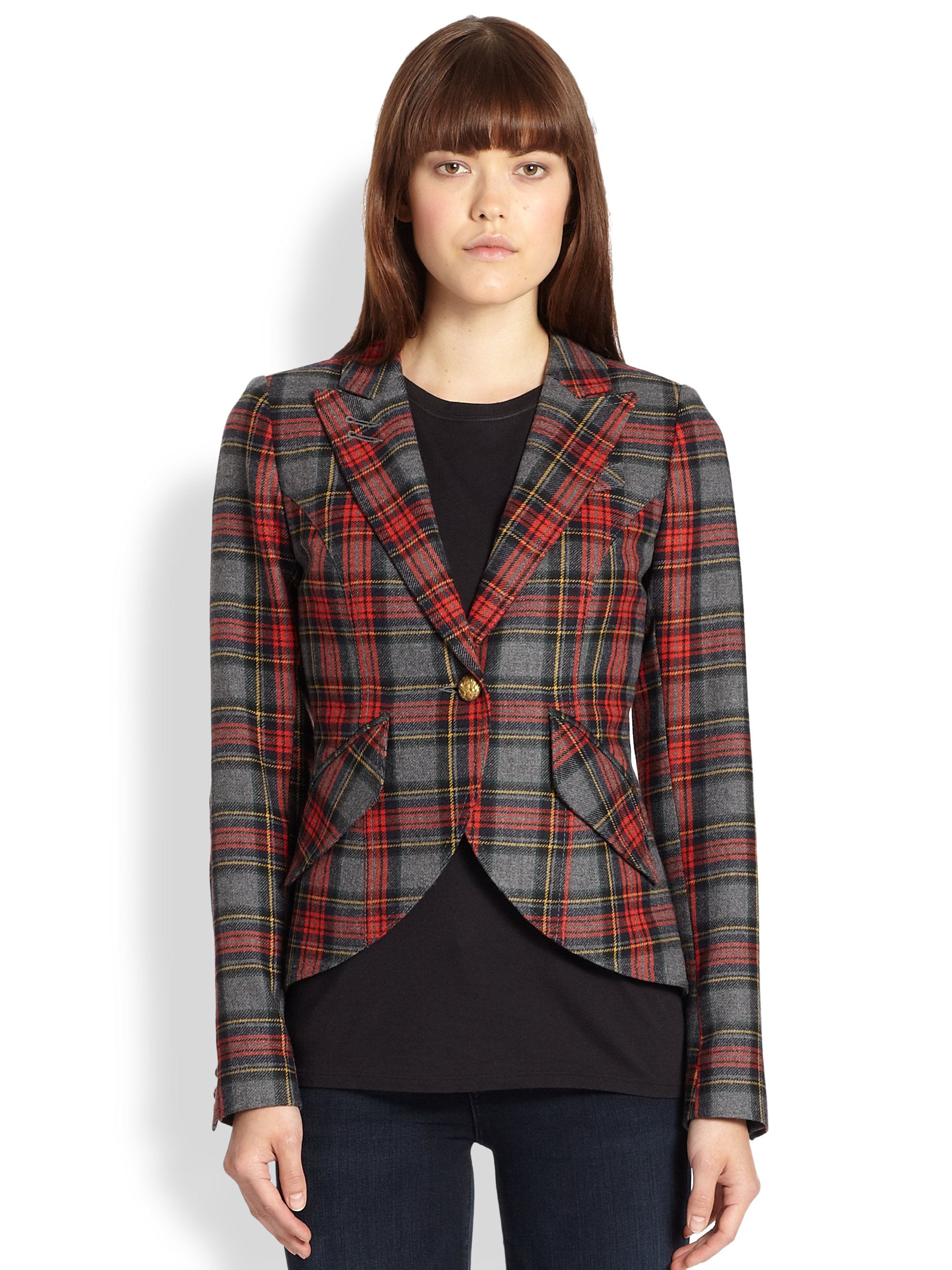 Smythe Patent Leather Elbowpatch Tartan Blazer In Red