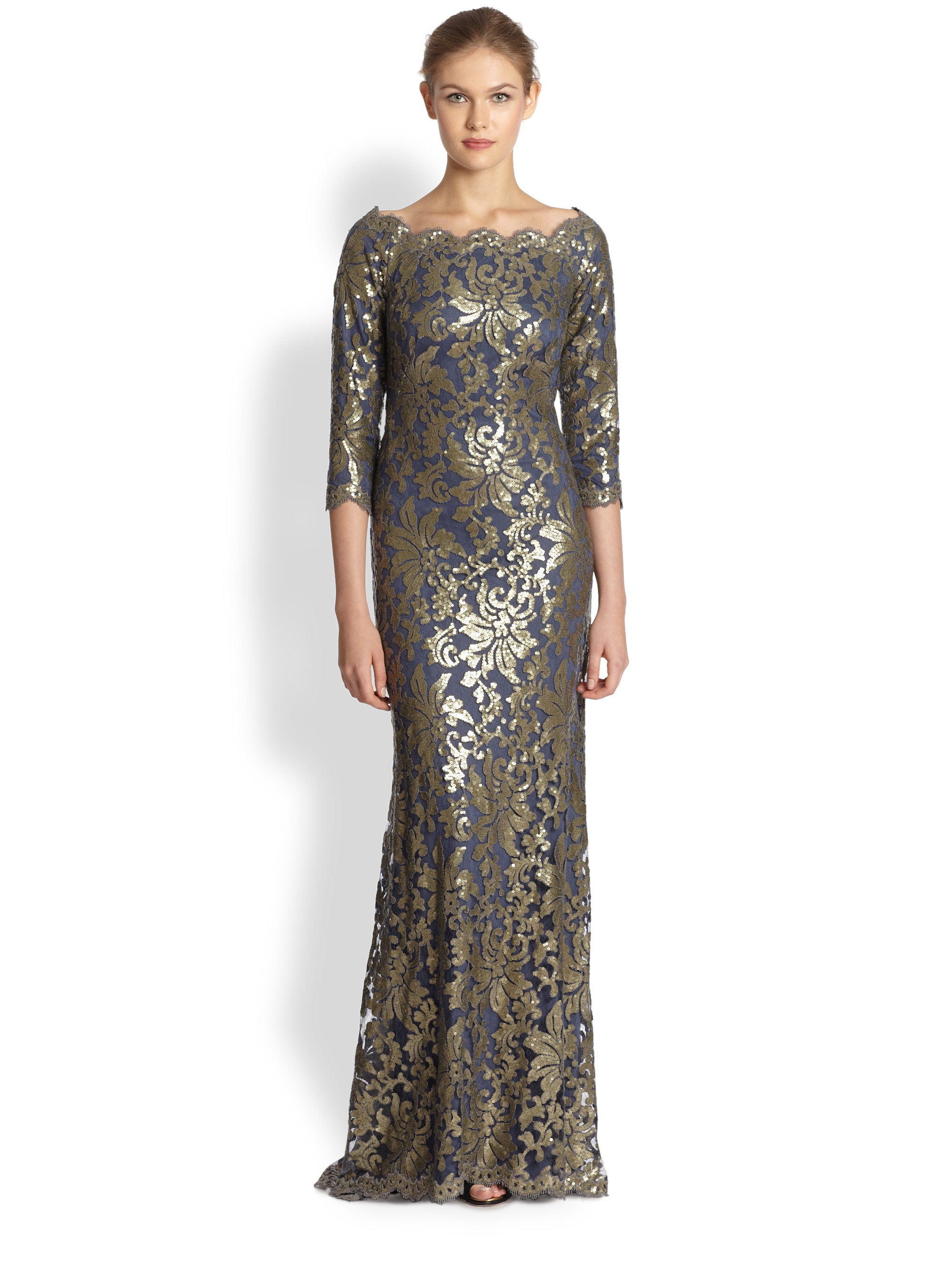 Lyst - Tadashi Shoji Sequined Lace Gown in Blue