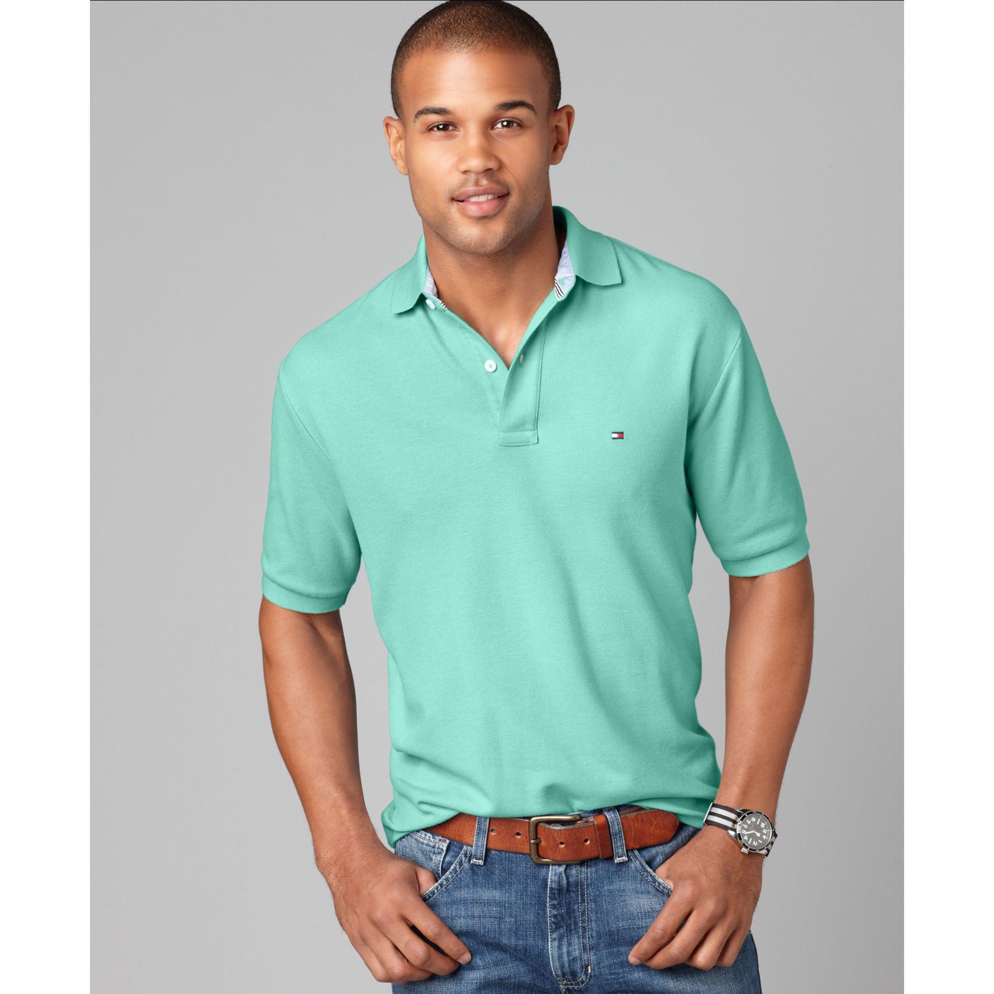 tommy hilfiger slim fit ivy polo shirt in blue for men. Black Bedroom Furniture Sets. Home Design Ideas