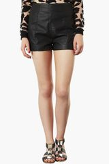 Topshop Lola High Waist Faux Leather Shorts - Lyst