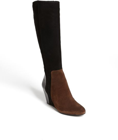 via spiga flory boot in brown chocolate black suede lyst