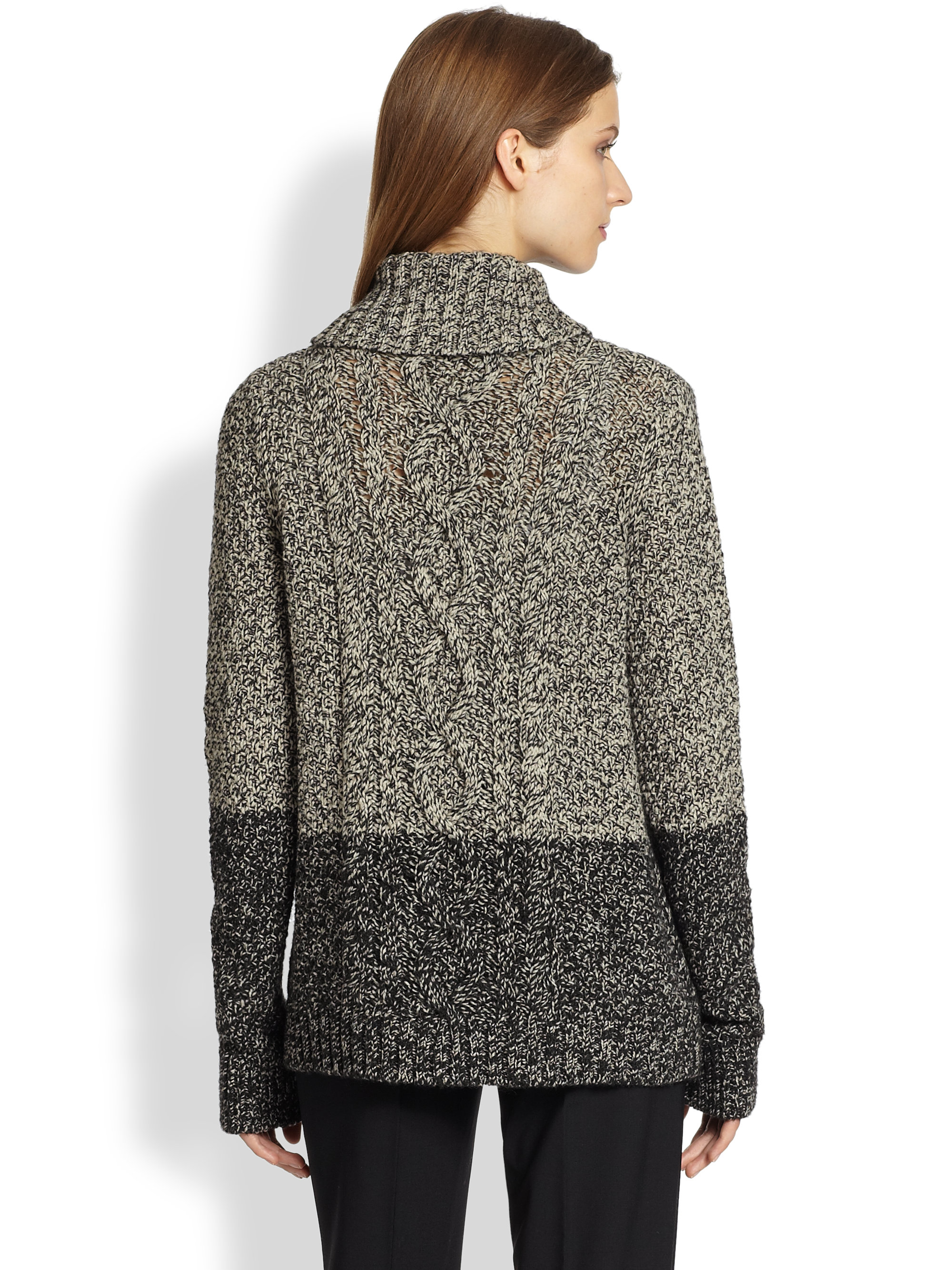 f850aee618 Vince Colorblock Marled Yak Wool Turtleneck Sweater in Gray - Lyst