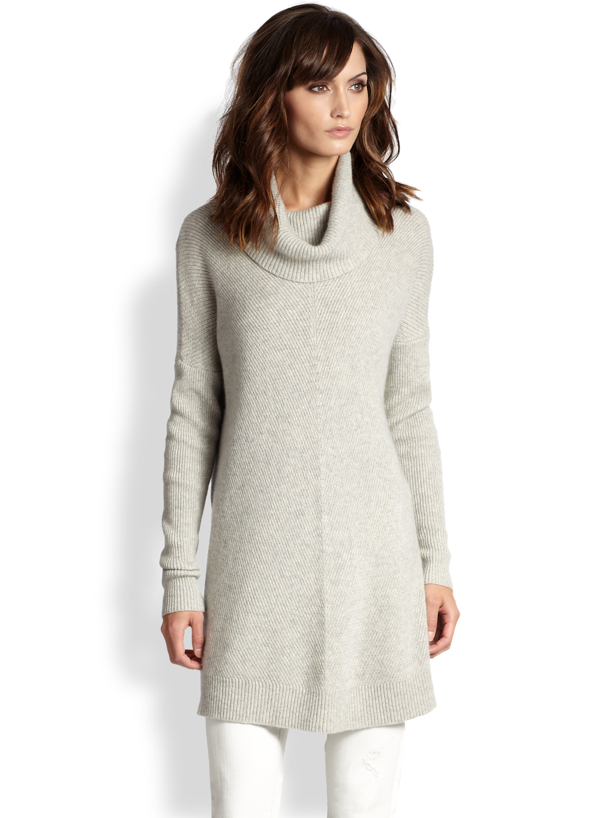 Vince Wool Cashmere Chevronribbed Turtleneck Sweater in Gray | Lyst
