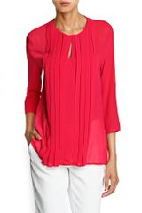 Mango Pleated Detail Chiffon Blouse - Lyst