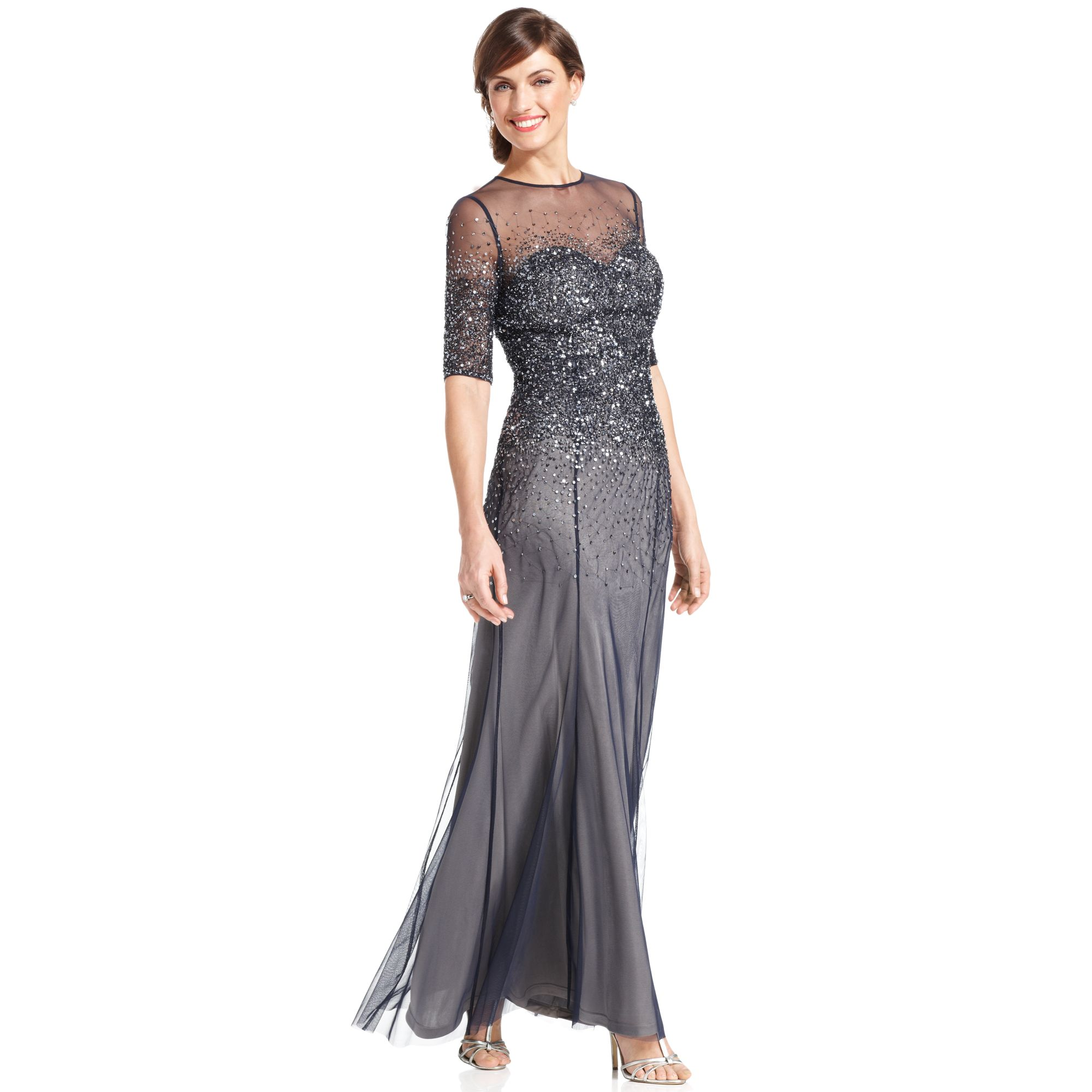 Wedding Principal Sponsors Gown: Adrianna Papell Elbow-Sleeve Sequined Beaded Gown In Blue