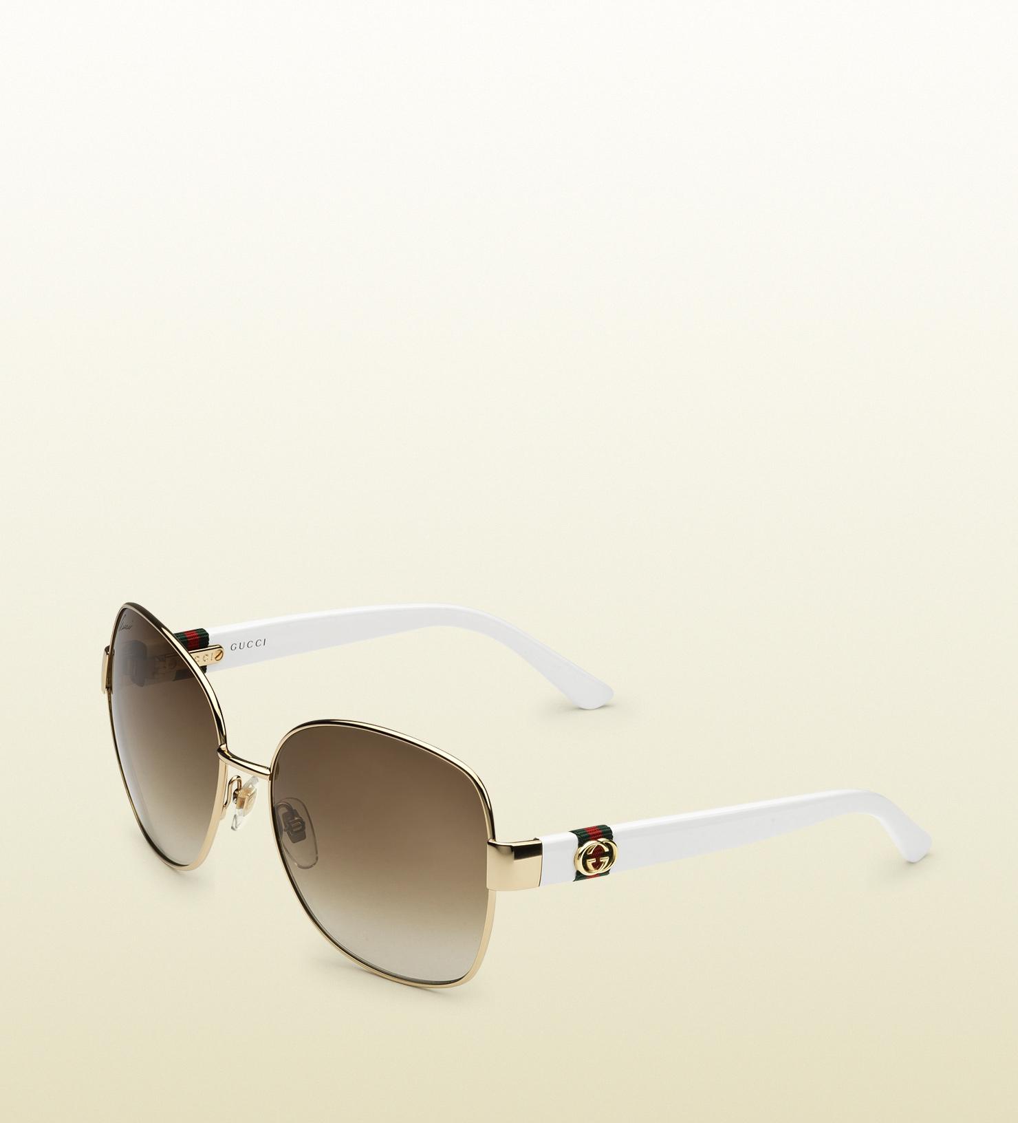 1c3758324 Gucci Gold Square Sunglasses in Metallic - Lyst