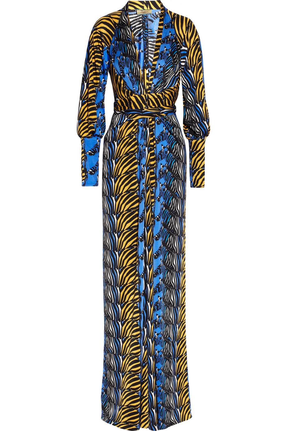 Issa Zebra Print Silk Jersey Maxi Dress In Multicolor