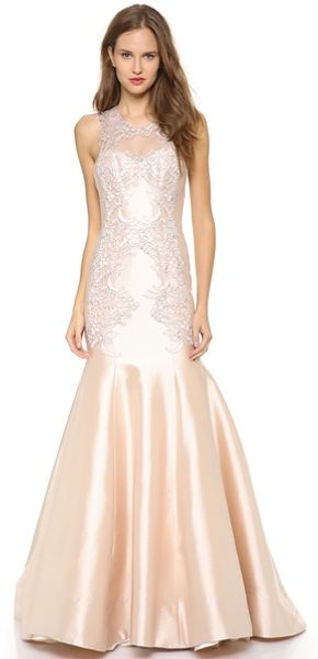 Lela Rose Mirrored Lace Gown - Lyst