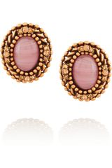 Oscar de la Renta Gold-plated Cabochon and Crystal Clip Earrings - Lyst