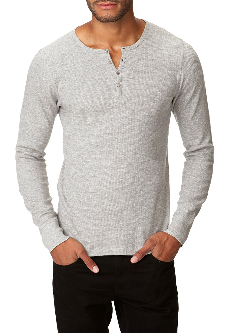Forever 21 basic thermal henley in gray for men lyst for Men s thermal henley long sleeve shirts