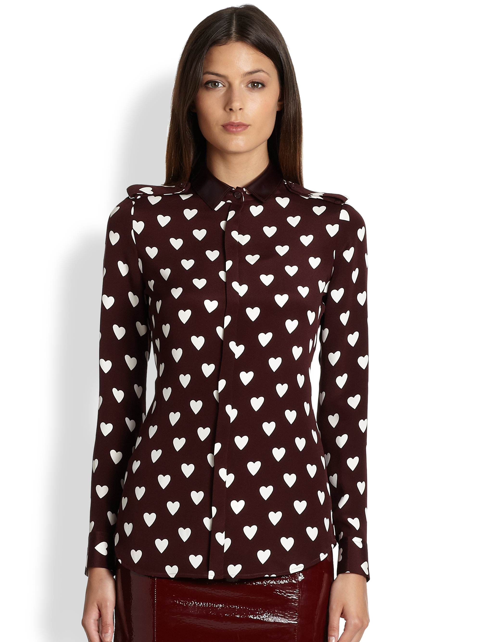 65cfed79a185f Lyst - Burberry Prorsum Silk Heart Print Shirt in Red