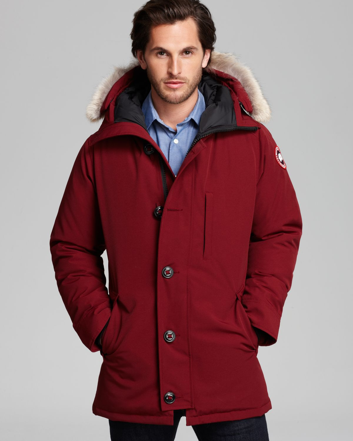 Canada Men S Sevens: Canada Goose Chateau Parka With Fur Hood In Red For Men