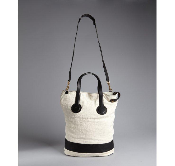C¨¦line White Linen Calf Detail Bucket Bag in White | Lyst