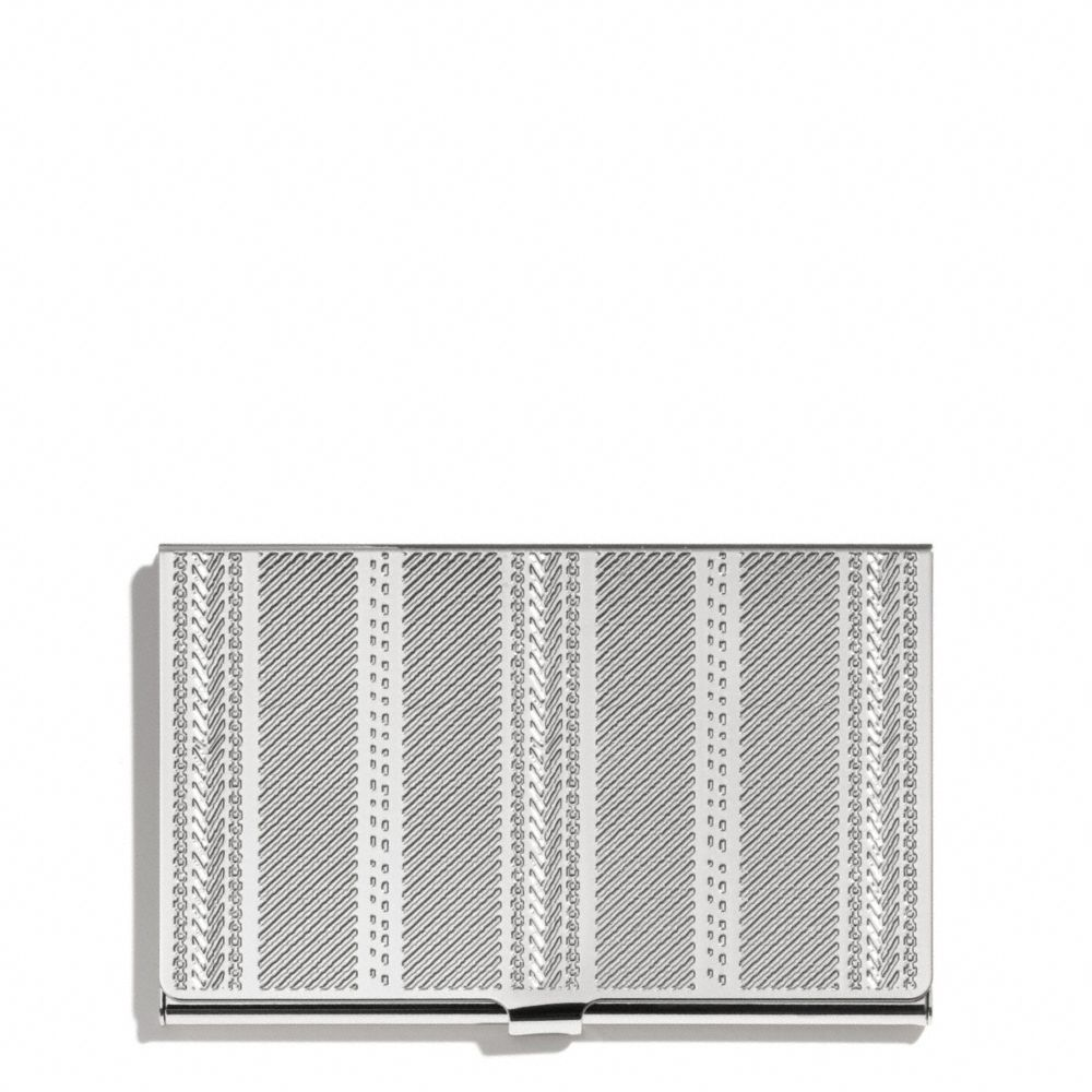 Coach crosby business card case in engraved metal ticking for Business card holder coach