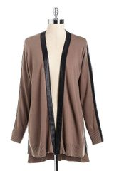 DKNY Long Cardigan with Faux-leather Trim - Lyst