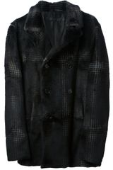 Drome Check Print Fur Jacket - Lyst