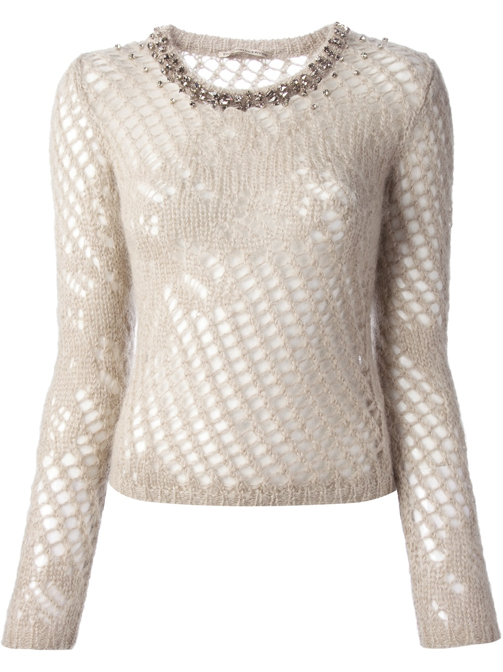 Picture yourself wearing this cashmere-soft sweater on a dinner date. The slit sleeves are held together by faux pearls. Acrylic. Machine wash & dry. Imported. Misses - 26