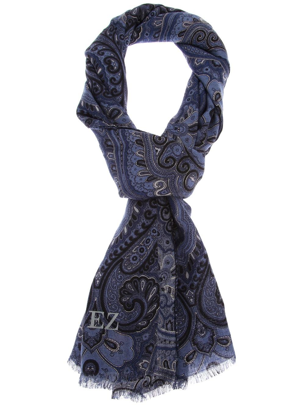 ermenegildo zegna paisley scarf in blue for lyst