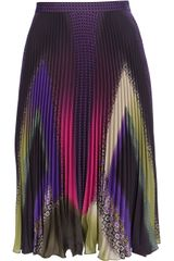 Etro Pleated Mixed Print Skirt - Lyst