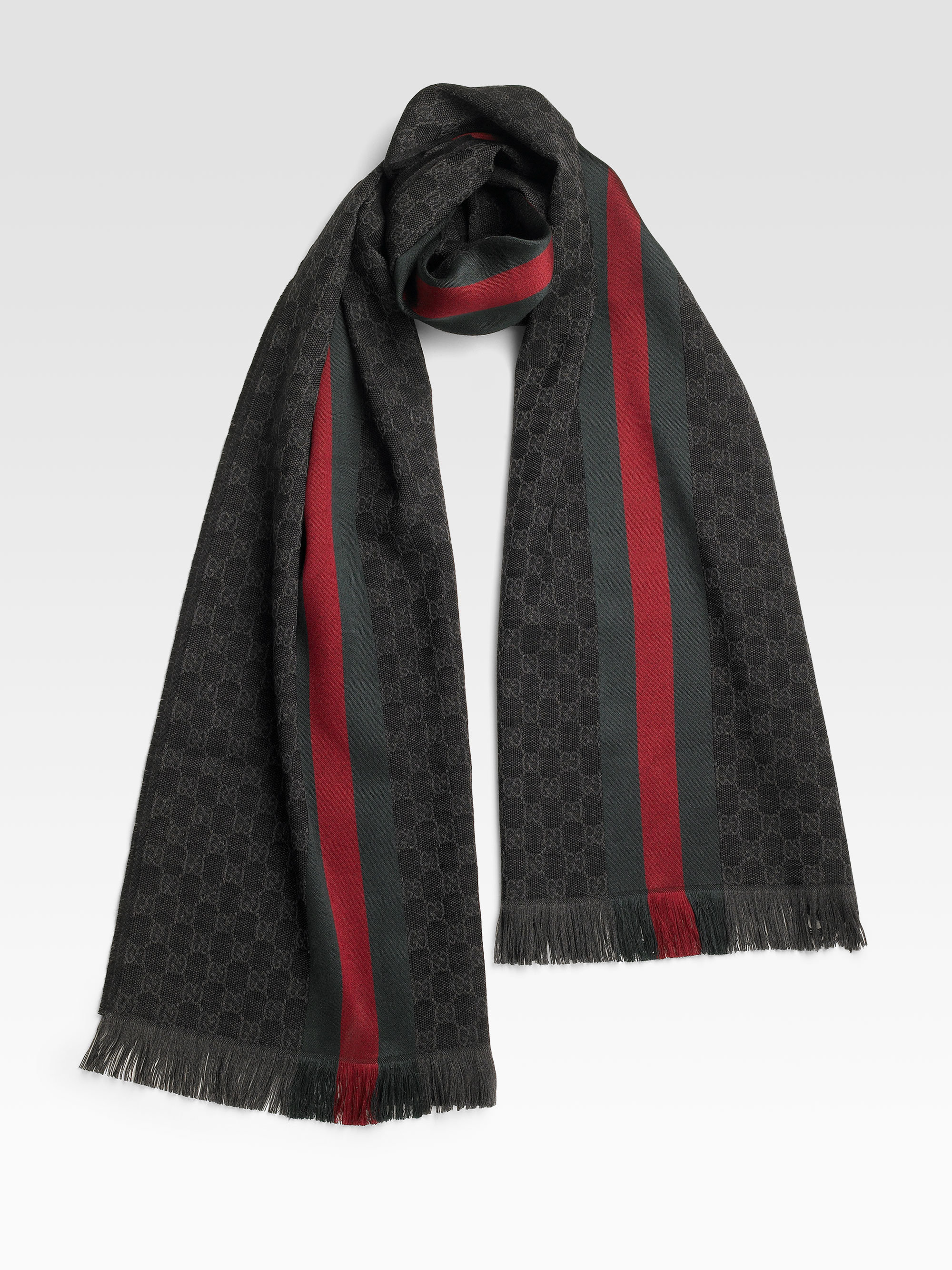 Lyst Gucci Gg Jacquard Knit Scarf In Green For Men