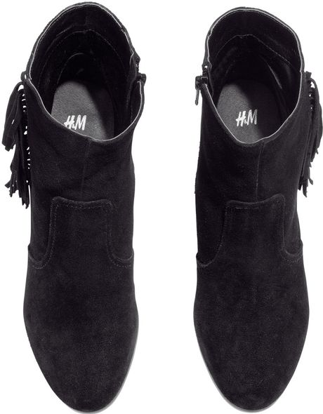 H&m Fringed Boots in Black