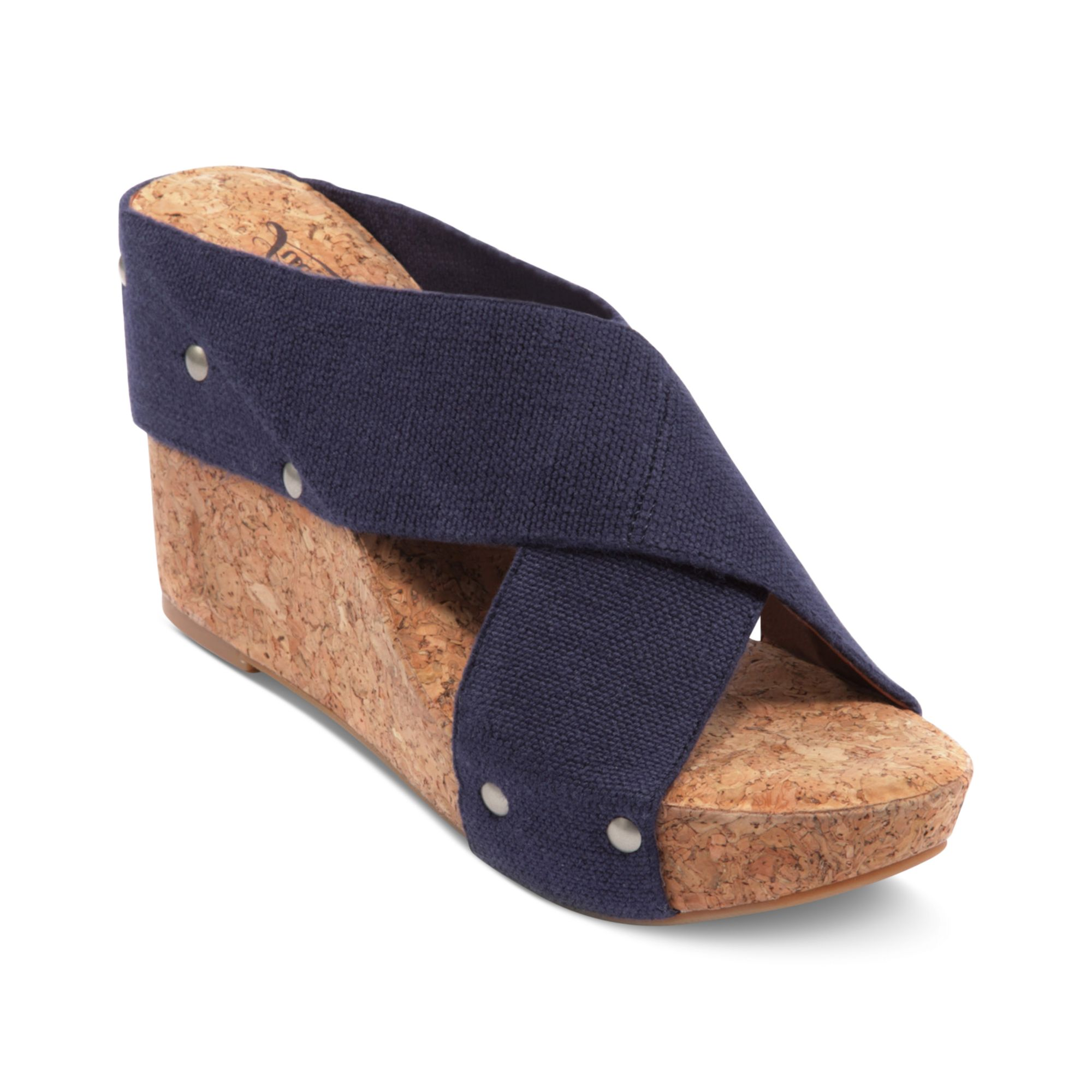 Lucky Brand Shoes Miller Wedge Sandals Navy