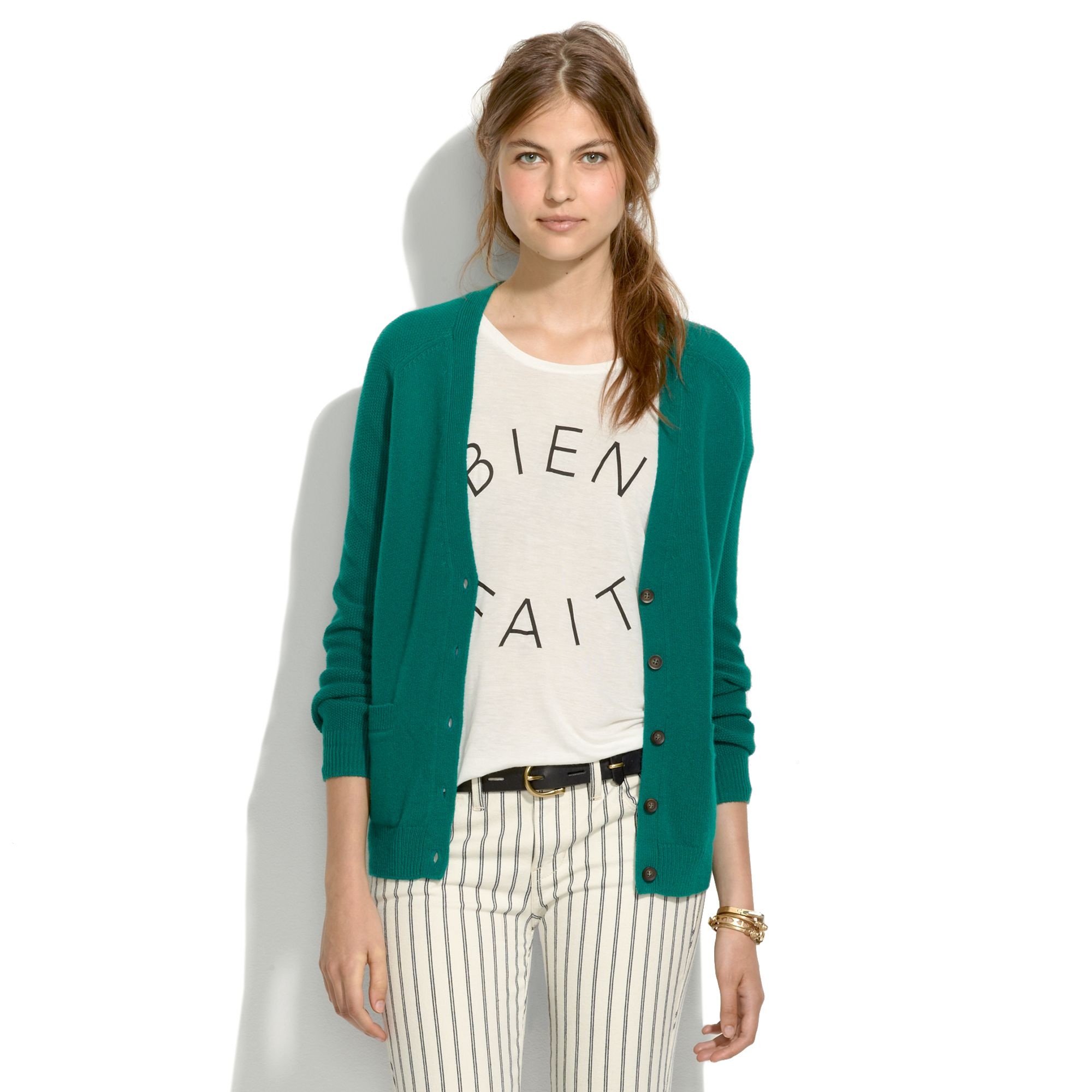 Madewell Journal Cardigan in Green | Lyst