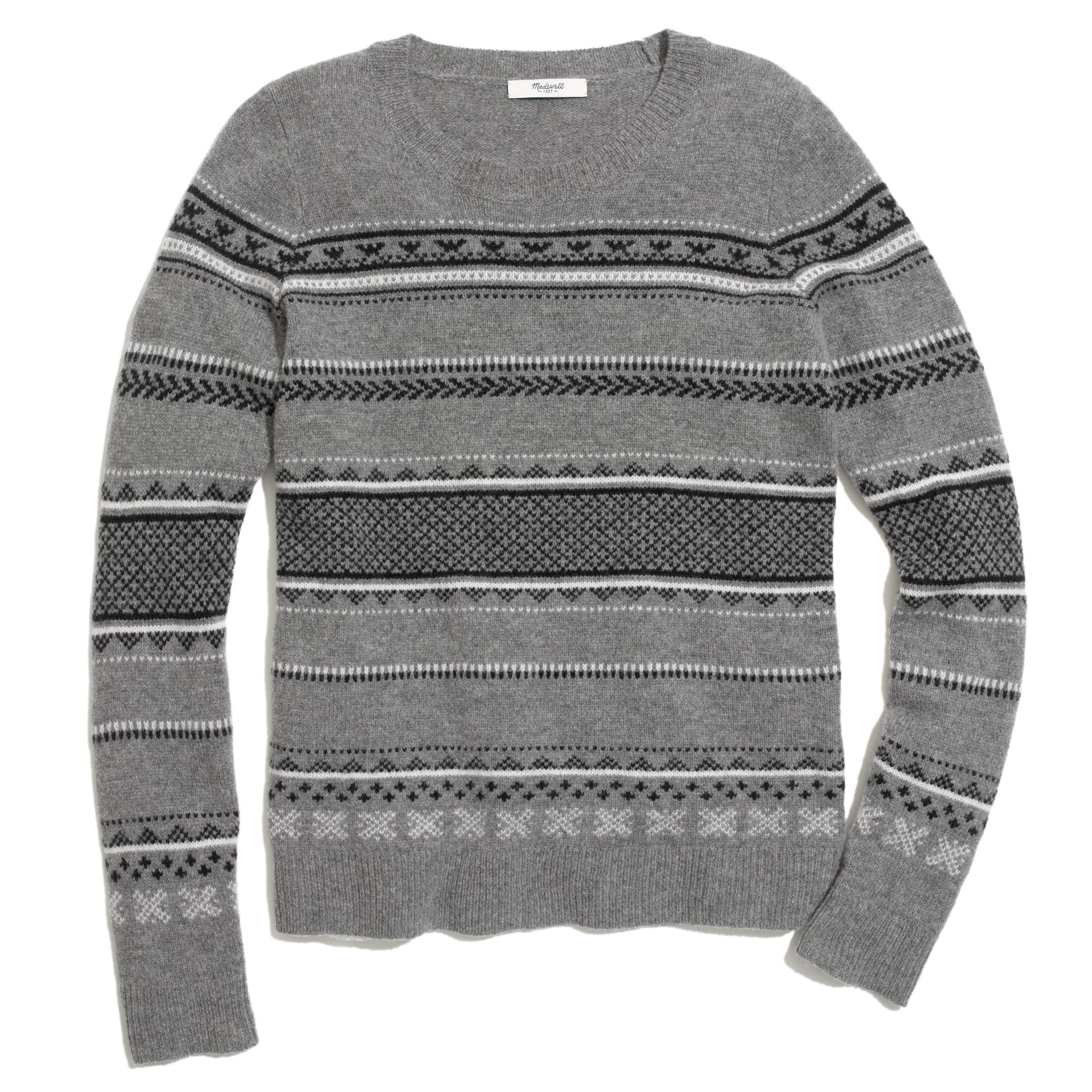 Madewell Fair Isle Striped Sweater in Gray | Lyst
