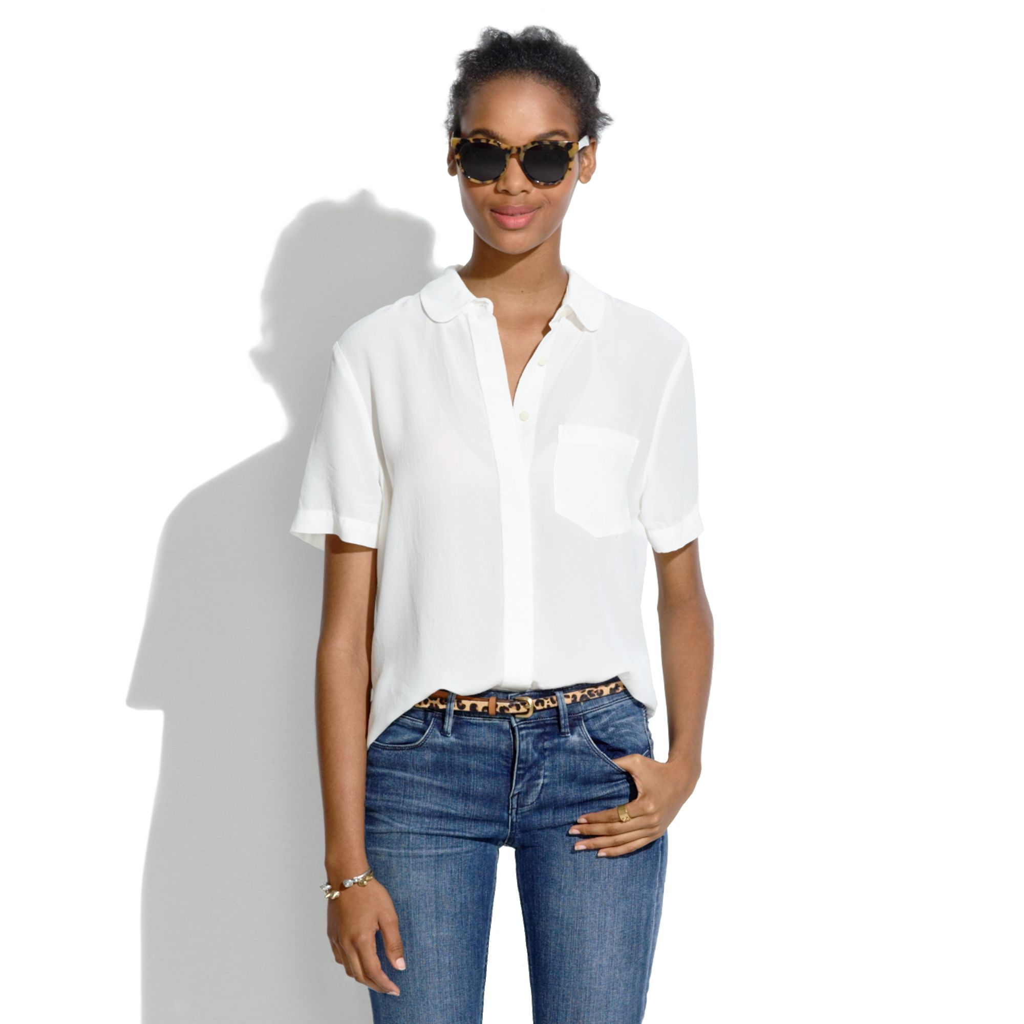 2bef3e85 Madewell Silk Collar Shirt in White - Lyst