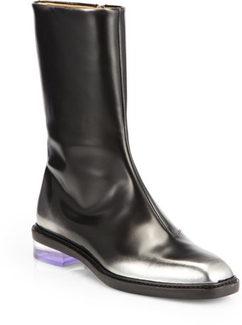 Maison Martin Margiela Painted Leather Plexiheel Midcalf Boots - Lyst