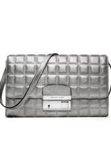 Michael Kors Gia Metallic Quilted Leather Clutch - Lyst